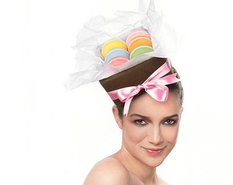 MADE TO ORDER Macaron Headpiece, Sweet Baked Goods Food Hat