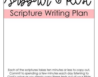 Sabbath & Rest Scripture Writing Long Plan- DIGITAL DOWNLOAD
