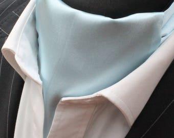 Cravat Ascot+ Hanky Silky Light Blue SATIN UK MADE