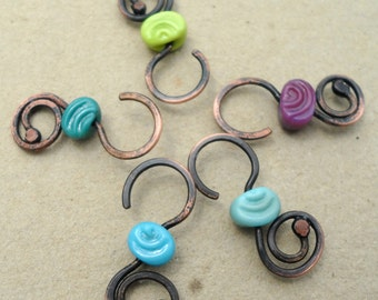 """ONE Lime Green """"Spiral S-Clasp"""" features my handmade lampwork glass spiral stamped antiqued copper small s- clasp."""