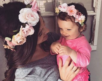 Mommy and Me Flower Crowns Blush Baby Shower Maternity Photo Newborn Photo Floral crown Mother's Day Matching Mother Daughter First Birthday