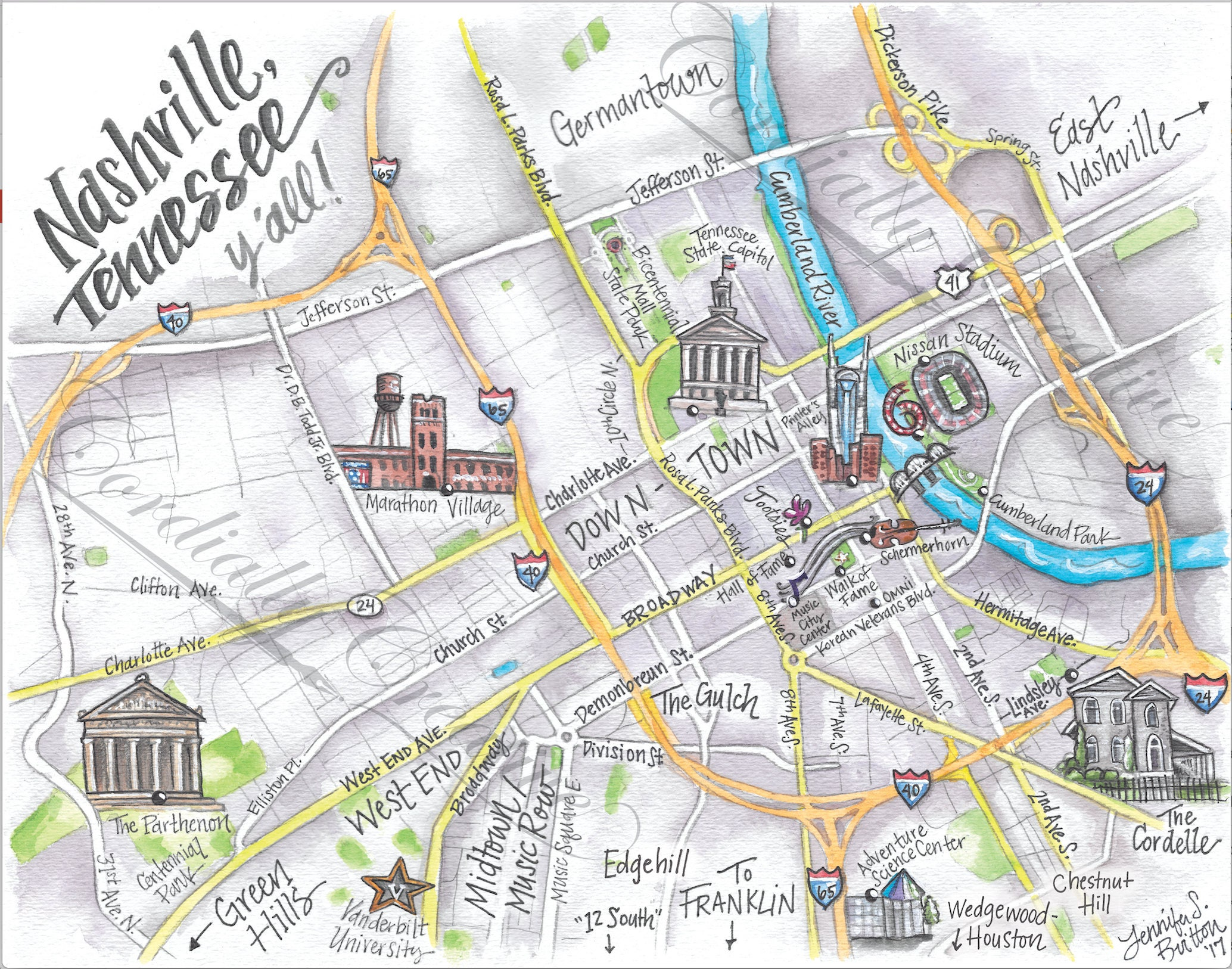 🔎zoom. downtown nashville map watercolor illustration print x