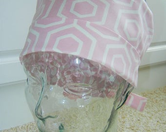 Tie Back Surgical Scrub Hat in Dusty Pink Honeycomb