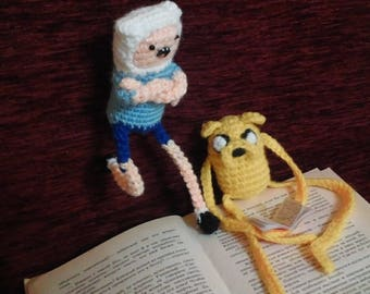 Finn and Jake from Adventure Time. Handmade, knitted toys.