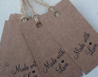 Vintage Style 'Made with Love' Kraft Gift Tags labels,
