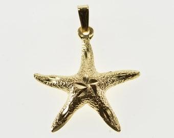 14K High Relief Sea Star Fish Ocean Motif Charm/Pendant Yellow Gold