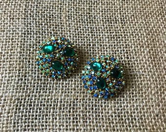 Vintage Rhinestone Clip On Earrings Blue Green Statement Costume Jewelry 1960's Circle Signed ART