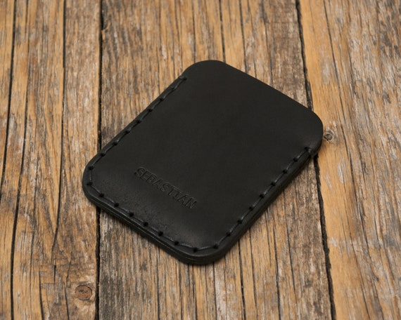 PERSONALIZED Simplistic Black Leather Wallet. Unisex Pouch. Credit Card Cash or ID Holder. Handmade and Hand Sewn Item.