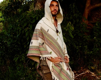 White Poncho with Hood Cashmere Wool, Earthy Tribal Pattern Festival Gypsy AJJAYA Mens Wear Boho Bohemian Primitive Nomadic Mexican pockets