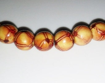 SALE! Wooden beads 10mm round beads brown beads 10mm red beads red wooden beads painted wooden beads dyed wooden beads