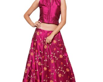 Maroon Color Silk Lehenga with Floral Embroidery