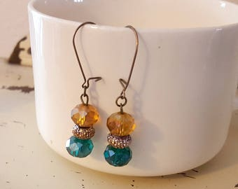 Amber Teal Glass Bead Dangle Earrings Brass Ear Wires Free US Shipping 014
