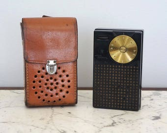 Early REGENCY TR-1 Vintage First Transistor Radio made in USA Mottled Mahogany
