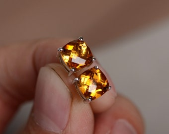 Natural Citrine Earrings Silver Yellow Gemstone Stud Cushion Cut Anniversary Gift For Her