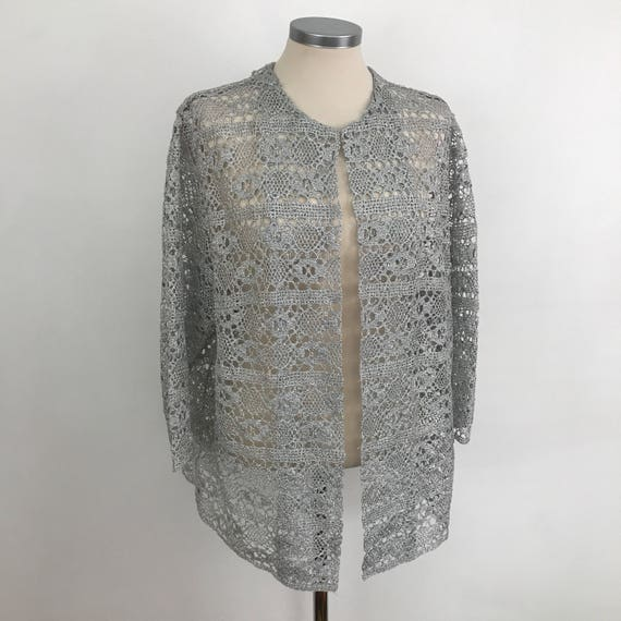 1960s Crochet cardigan volup metallic silver crocheted evening jacket 60s boho Christmas top handmade sparkly hippy UK 18 US 14 plus size