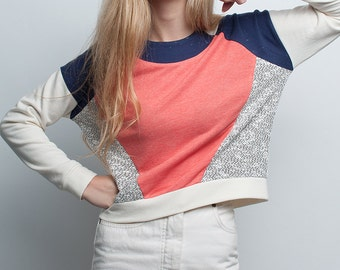 Salmon and marble geometric handmade sweatshirt. Minimal style
