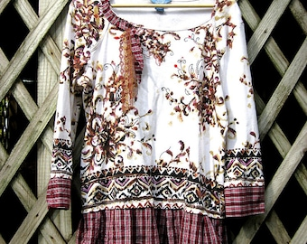 Upcycled tunic top, purple plaid and floral, womens size medium by lily whitepad
