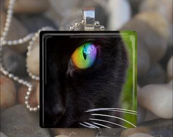BLACK CAT EYE Kitty Cat Green Eye Glass Tile Pendant Necklace Keyring