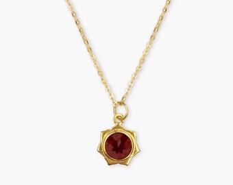 Garnet Lotus Necklace, 18k Gold Plated Lotus Necklace, Garnet Necklace, Lotus Necklace