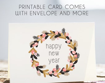 happy new year, new year card, new yesr download, new year greeting, new year digital, new year printable