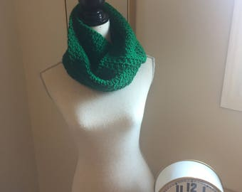 Hand Crocheted Green Infinity Scarf