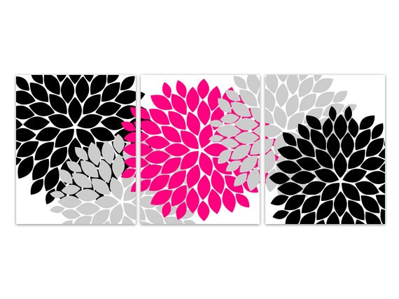 Home decor wall art instant download pink and black flower