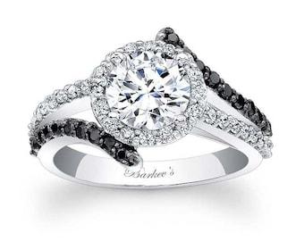 Barkevs Unique Black Diamond Halo Engagement Ring, Forever One Moissanite Engagement, Available with Diamond or Moissanite Center, 7857LBK