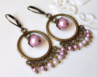 Chandelier Earrings, Pink Swarovski Pearls, Powder Rose, Antiqued Brass Bronze, Wire Wrapped, Romantic Rustic Wedding, Bridal Jewelry