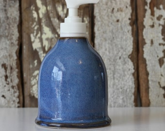 Ceramic Soap Dispenser / Soap Dispenser with Pump / Blue Soap Dispenser / Ready to Ship