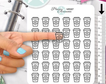 Clear Coffe Stickers Coffe Cup Stickers Coffee To Go Stickers Planner Stickers Functional Stickers Daily Chore Stickers Live Planner NR587
