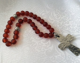 33 Bead Red and silver Christian Protestant prayer beads on braided cotton cord