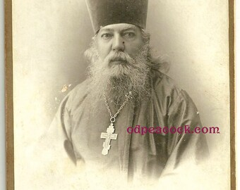 Russian Orthodox priest beard Moscow vintage photo cross religious oddity