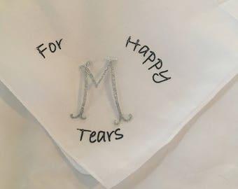For Happy Tears Handkerchief with monogram initial/bridesmaid gift handkerchiefs/Glitter Vinyl/monograms