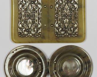 2 x ANTIQUE 1920s BELT BUCKLES - Celluloid / Bakelite Dress Belt Buckles
