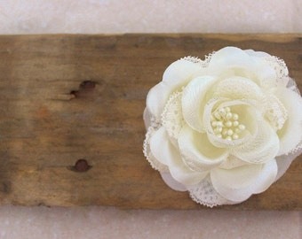 Ivory Wedding Hair Flower, Lace Rose Hair Accessories w/ Pearls, Bridal Hair Flower Clip, Lotus flower, wedding hair piece, hair accessory