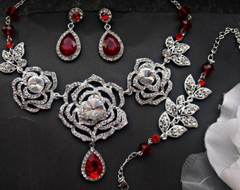 Bridal jewelry set wedding necklace set statement necklace chandelier earrings crystal earrings wedding jewelry set rhinestone jewelry set