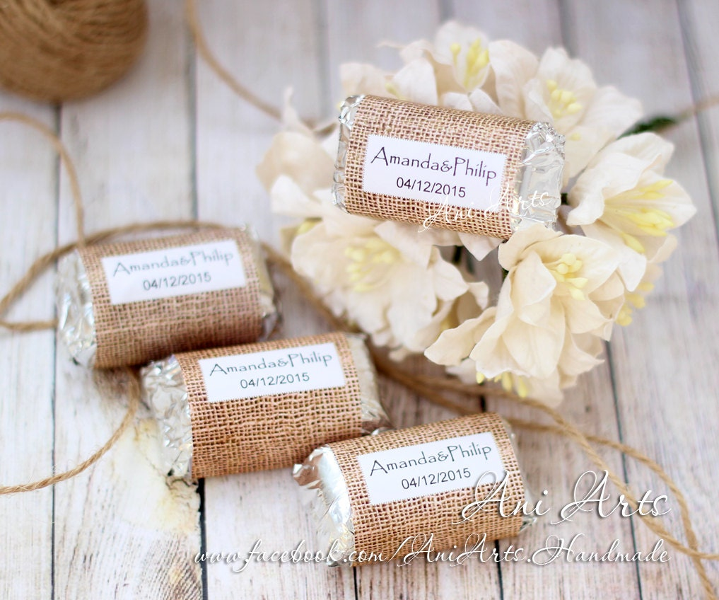 Burlap Wedding Favors Mini Hershey wrapper Custom DIY Country ...