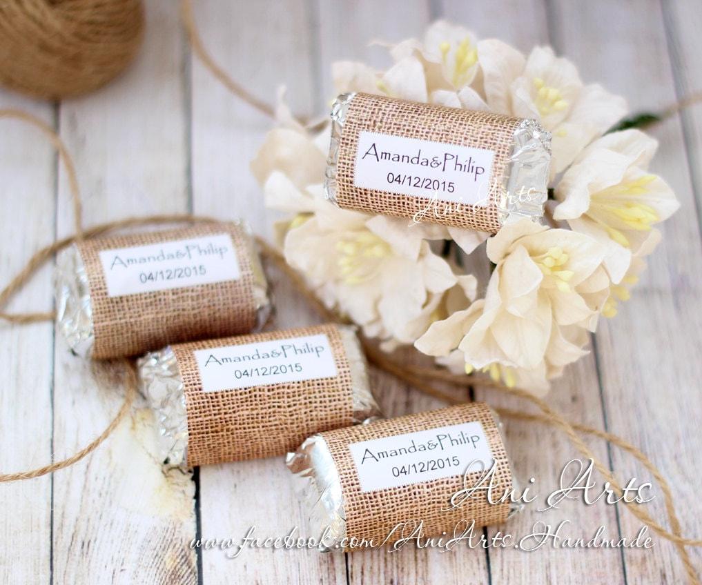 Burlap Wedding Favors Mini Hershey wrapper Custom DIY Country