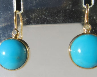 9kt Yellow Gold Round Turquoise and Diamond Dangle Earrings, Turquoise Earring, Dangle Turquoise Earring, Gold Turquoise Earring, Earring