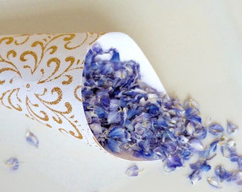 Real Flower Petal Confetti: All Natural, Blue and White, Eco-Friendly, Biodegradable, Flower Petal Wedding Confetti, enough for 20 people.