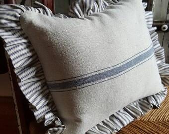 3 Blue Stripe Grain Sack Fabric w/Ticking Ruffle