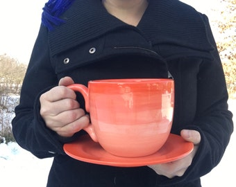 Coral Ombre Soup Mug with Matching Saucer Plate - 30 oz. - Extra Large Mug and Dish Set - Shades of Corals