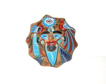 Mexican Clay Folk Art Mask Wall Hanging Wall Decor