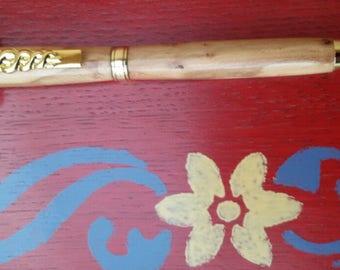 Pen, Caduceus, gold, turned, wood, Heather, black ink