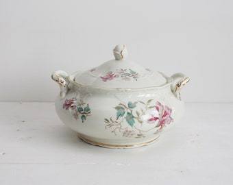 Vintage Mosa Maastricht Porcelain Ceramic soup tureen with flower pattern and gold trim