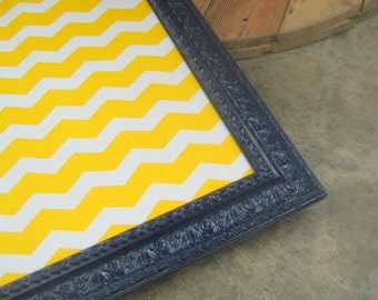 Yellow Zig Zag Fabric Pin Board or Magnetic Thick Detailed Frame Many Sizes and Color Options Boy or Girl Room Office