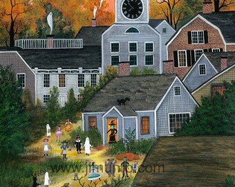 Halloween on Orange Street, Nantucket - Halloween Limited Edition Print _ by J.L. Munro