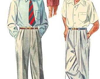 "Vintage 1950s Sewing Pattern Dapper Slacks Pants Trousers Shorts Pleats W 36"""
