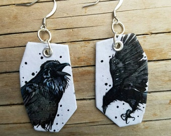Black and White Raven - Hand-Painted bird earrings