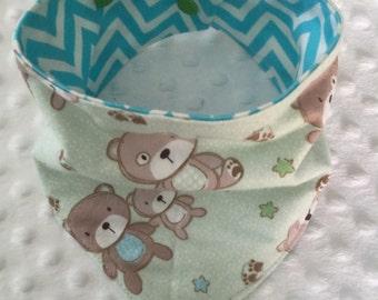 Personalized REVERSIBLE Baby Bandana Bib Bibdana- Teddy Bears